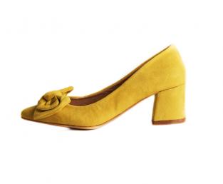Ženska cipela, žuta, s mašnom, blok peta