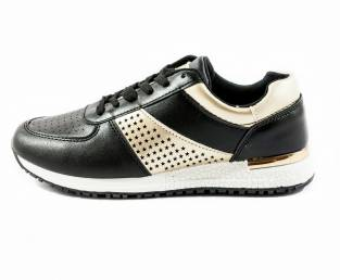 Women's sneakers, black and gold