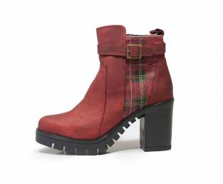 B QUEEN BOROVO, WOMEN'S ANKLE BOOTS, RED COMBINATION
