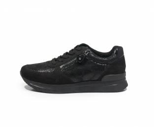 Women's sneaker, black, with zip on the side