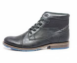 Men's ankle boots, black, with blue detail